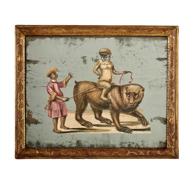 19th C. French Exotic Hand-Painted Decoupage Mirror, Animal Trainer, Monkey & Bear For Sale