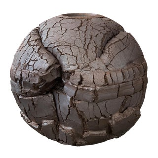 Monumental Stoneware Sphere Sculpture or Vessel by Michael Becker For Sale