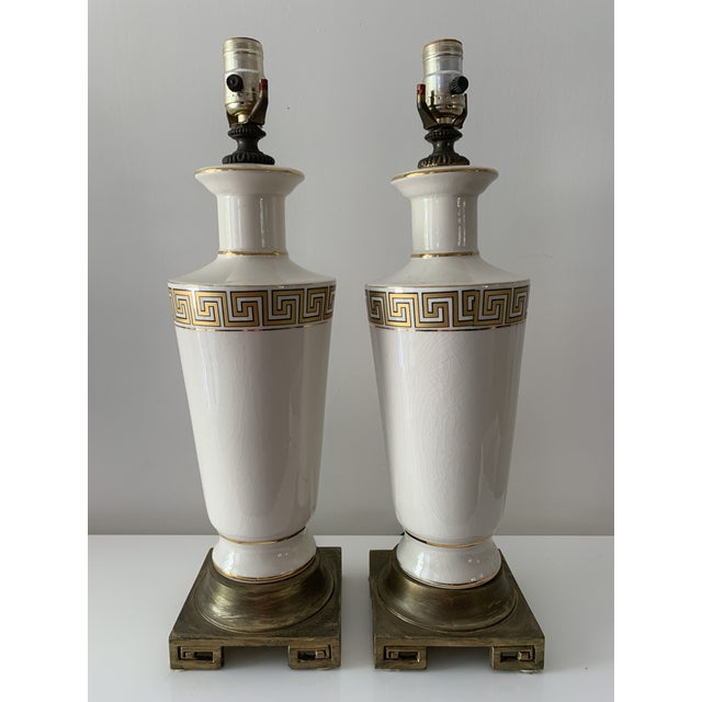 Regency Greek Key Table Lamps - a Pair For Sale - Image 12 of 12