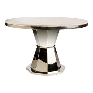 Chrome & White Lolin Marble Top Entry Way / Dining Table For Sale
