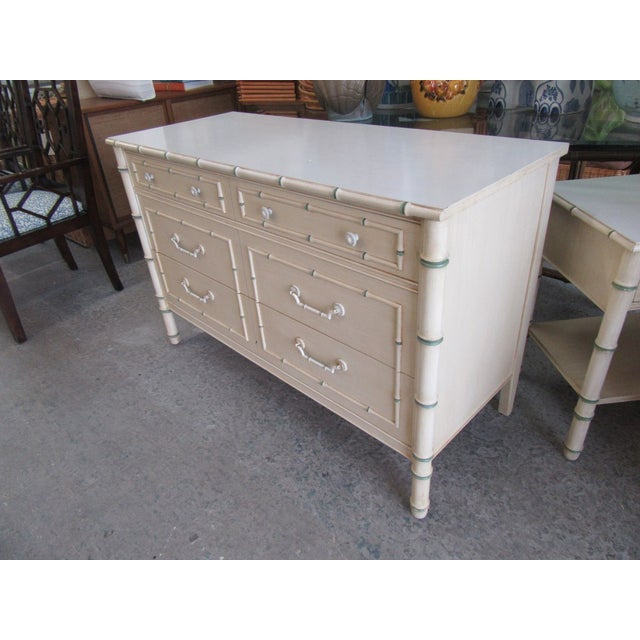 1970s Chippendale Palm Beach Faux Bamboo Double Dresser For Sale - Image 5 of 7