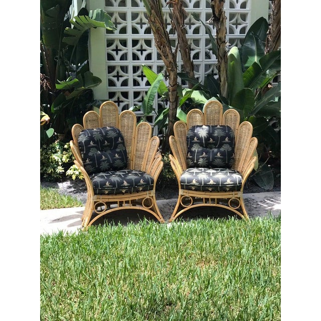 Wood Vintage Rattan Palm Frond Chairs With Unused Monkey Embroidered Upholstery ( White Reflections on Fabric Is Camera) Green at Feet Is Grass - a Pair For Sale - Image 7 of 7