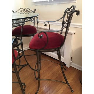 Wrought Iron and Glass Bistro Dining Table and Custom Upholstered Swivel Bar Stools Preview