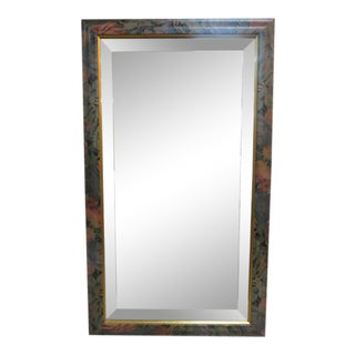 1950s Vintage Antique Style Hand Painted Floral Framed Mirror For Sale