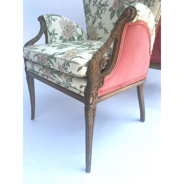 Green Carved French Hollywood Regency Style Butterfly Wing Chairs For Sale - Image 8 of 10