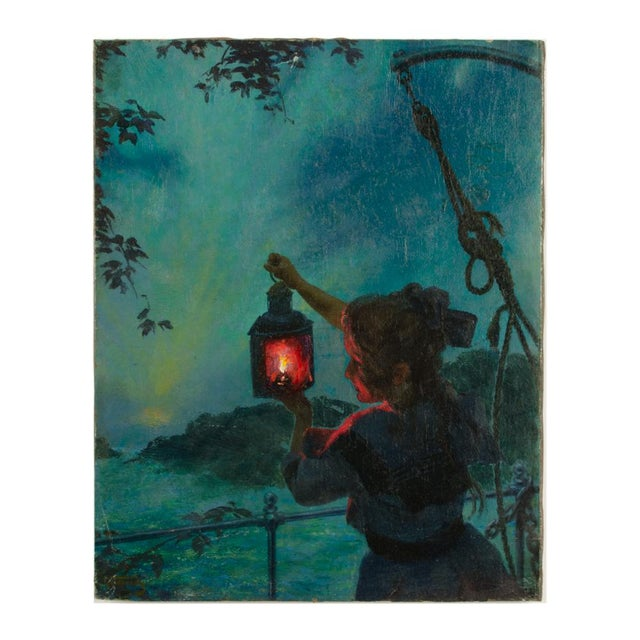 "Early 20th Century ""Girl with Lantern"" Figurative Oil Painting by Otto Toaspern For Sale - Image 11 of 11"