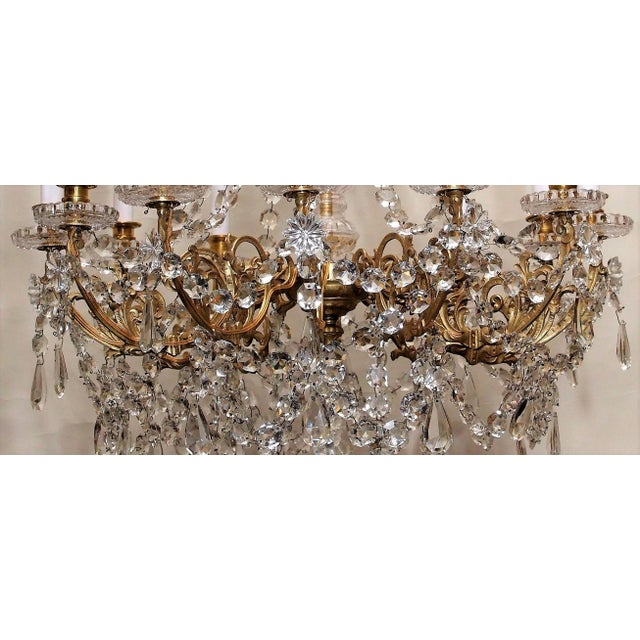 Antique French Late 19th Century Baccarat Crystal and Gold Bronze 12 Light Chandelier For Sale - Image 4 of 5