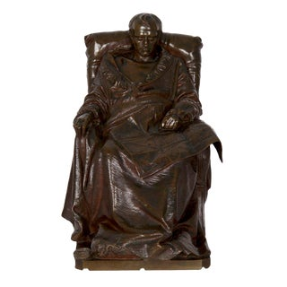 """Bronze Sculpture """"Last Days of Napoleon"""" After Model by Vincenzo Vela (Italian/Swiss, 1820-91) For Sale"""
