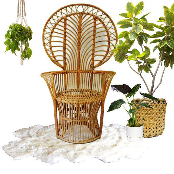 Boho Chic Mid Century Franco Albini Style Peacock Chair Bent Bamboo Fan Back Chair For Sale - Image 3 of 11