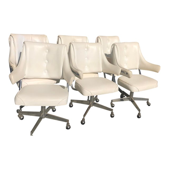 Vintage Mid-Century Howell Vinyl & Chrome Dinette or Office Chairs - Set of 6 For Sale