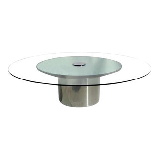 1970s Pace Polished Metal Glass and Mirror Coffee Table For Sale