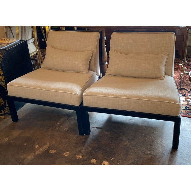 Michael Taylor Mid Century Asian Modern Black Slipper Chairs - a Pair For Sale - Image 4 of 11