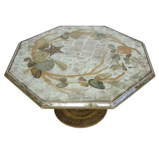 French Coffee Table With Seashells Églomisé Glass Top