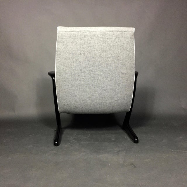 """Fabric Bengt Ruda """"Z"""" Ebonized Lounge Chair, Sweden 1950s For Sale - Image 7 of 8"""