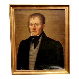 French Portrait of Nobleman Painting With Golden Frame For Sale