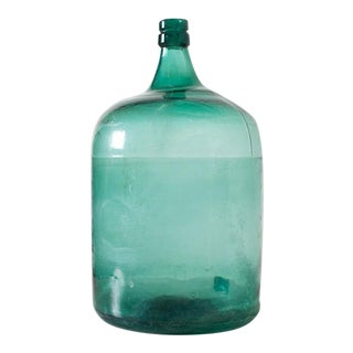 1940s Teal Glass Decorative Wine Bottle