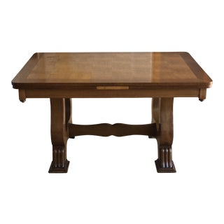 Oak French Provincial Parquet Top Dining Table With Draw Leaf