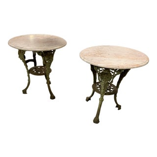 French Cast Iron Cocktail Tables - a Pair For Sale