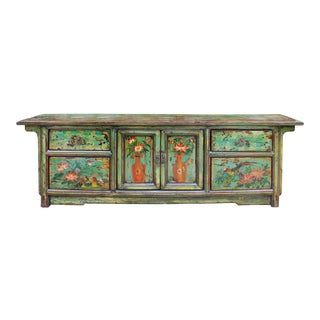 Chinese Distressed Blue Green Flower Graphic Low TV Console Cabinet