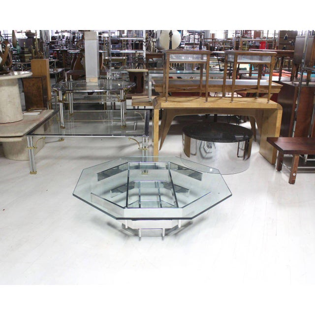 Mid-Century Modern Heavy Stacked Chrome Base Octagonal Coffee Table For Sale - Image 4 of 6