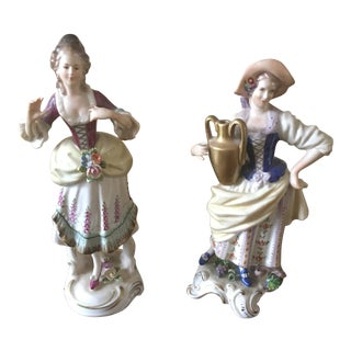 1990s Chelsea House Hand-Painted Porcelain Figurines - A Pair For Sale
