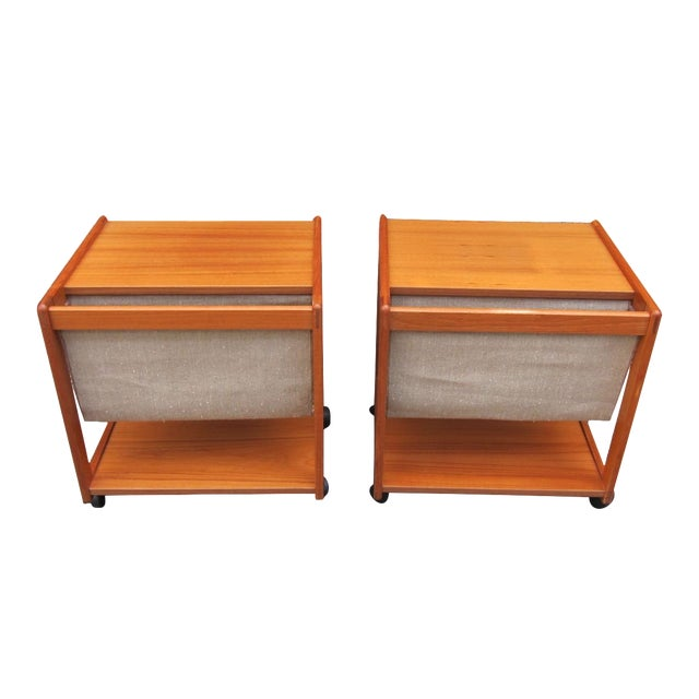 Mid-Century Magazine Storage Side Tables - A Pair - Image 1 of 3