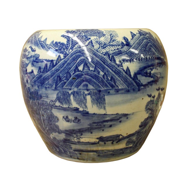 Chinese Blue White Scenery Porcelain Pot Vase For Sale