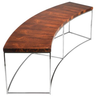 Milo Baughman Rosewood and Steel Circular Bench or Table For Sale