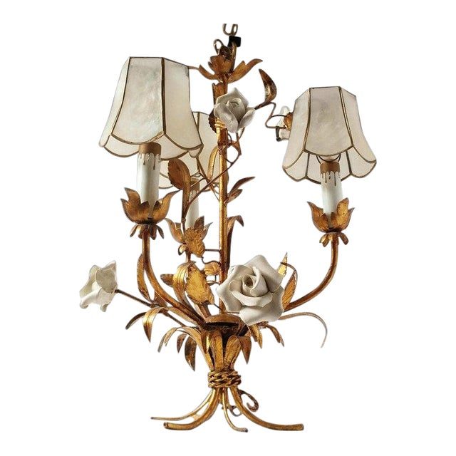 1920's Vintage French Toleware 3 Lite Chandelier For Sale