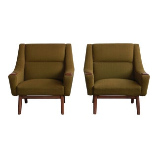 Vintage Mid Century Green Danish Teak Lounge Chairs- A Pair For Sale