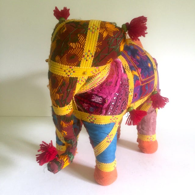 Fabric Vintage Indian Patchwork Elephant Figurine For Sale - Image 7 of 11