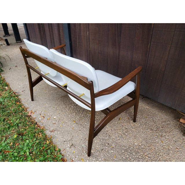 Wood Mid 20th Century Danish Modern Style White Settee For Sale - Image 7 of 13