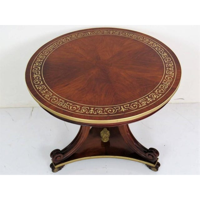 Hollywood Regency Regency/Baltic Style Inlaid Brass Centre Table For Sale - Image 3 of 5