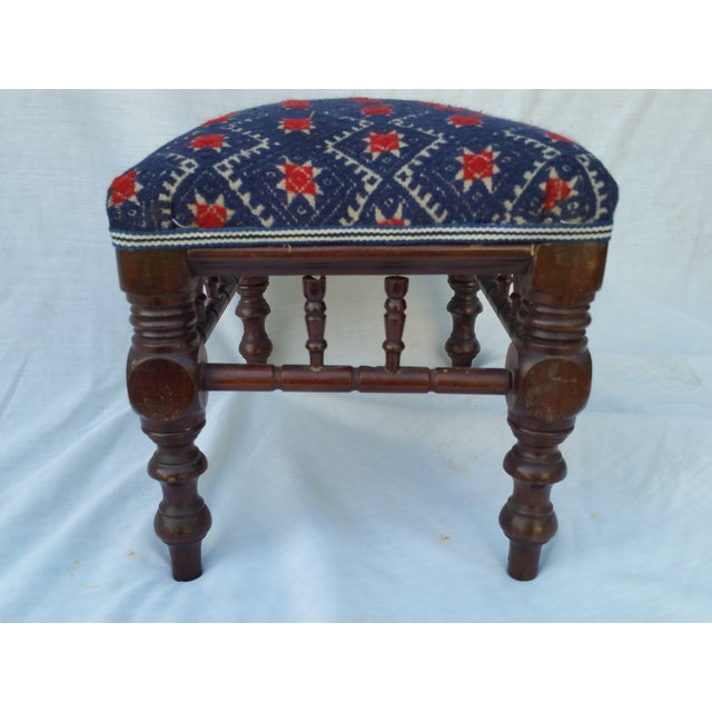 Victorian Embroidered Foot Stool - Image 4 of 7