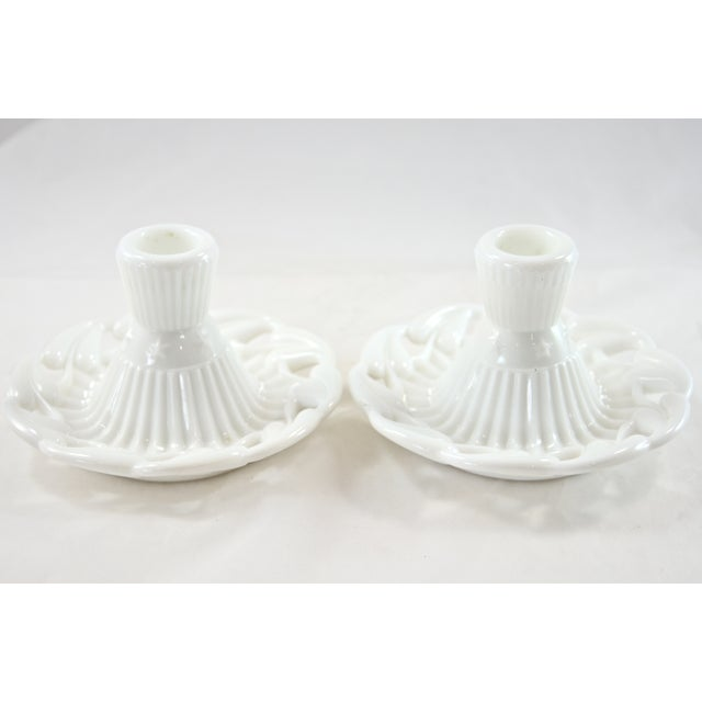 1950s Fostoria Open Work White Candleholders - a Pair - Image 4 of 4