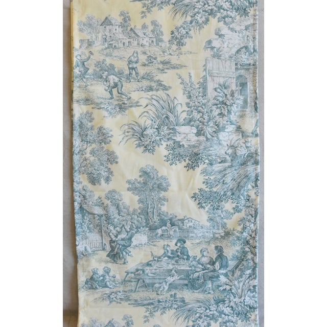 "Custom French Farmhouse Country Toile Table Runner 110"" Long For Sale In Los Angeles - Image 6 of 9"