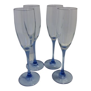 Vintage French Blue Stem Crystal Champagne Glasses - Set of 4