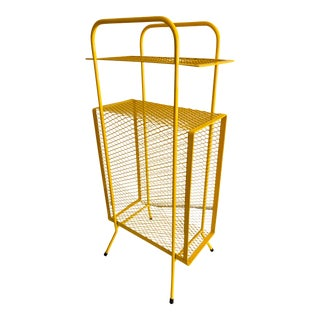 Mid-Century Modern Perforated Atomic Metal Yellow Magazine Holder/Side Table Telephone Stand For Sale