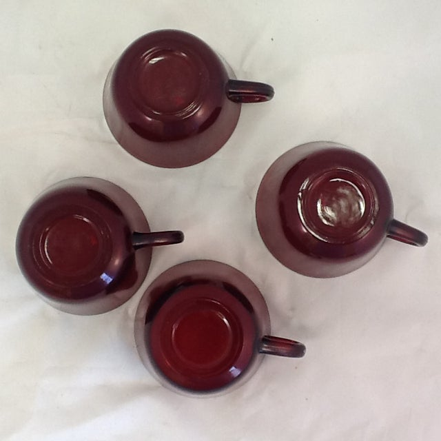 Vintage Cranberry Glass Cups - Set of 4 For Sale In Phoenix - Image 6 of 6