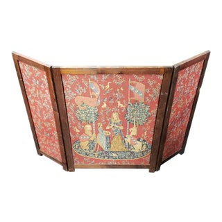 Circa 1940 French the Lady and the Unicorn Tapestry Folding Wooden Fireplace Screen For Sale