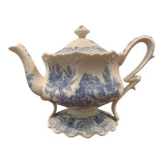 Burton & Burton Blue Toile Transferware Teapot For Sale