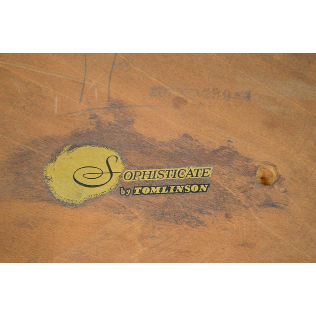 "Tomlinson Sophisticate 40"" Round Mid Century Modern Walnut & Recan Coffee Table For Sale - Image 12 of 13"
