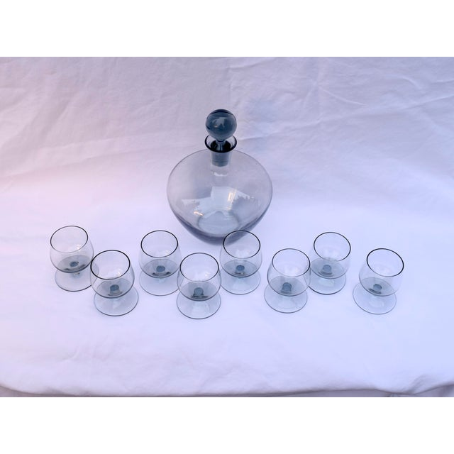 Mid-Century Smoked Glass Cordial Decanter Set For Sale In Philadelphia - Image 6 of 7