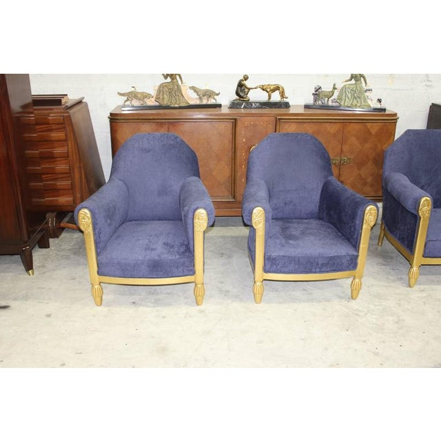 French Art Deco Paul Follot Settee & Chairs - Set of 3 For Sale - Image 9 of 10