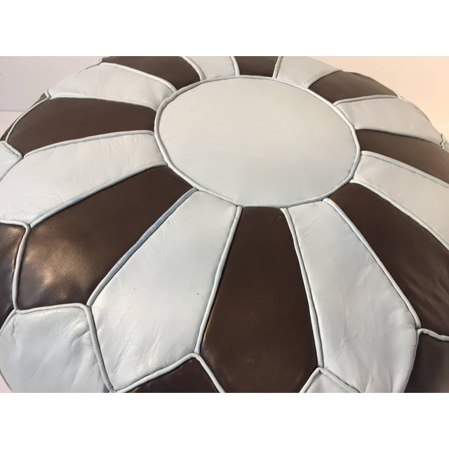 Moroccan Round Leather Pouf Hand-Tooled in Marrakesh For Sale - Image 9 of 10