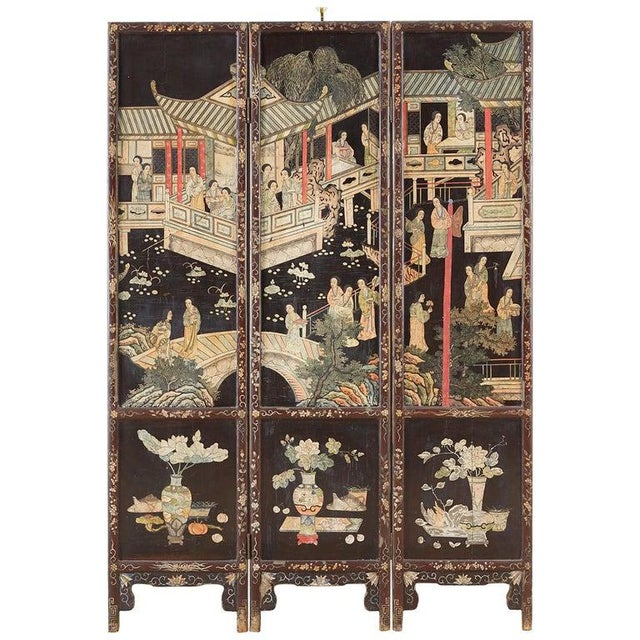 Chinese Export Three-Panel Lacquered Coromandel Screen For Sale - Image 13 of 13