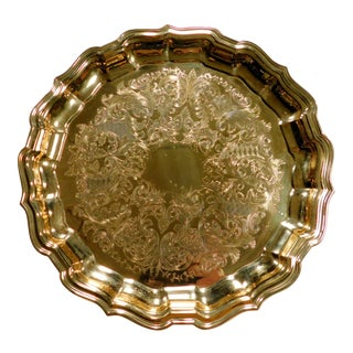 1980s Etched Gold Tray For Sale