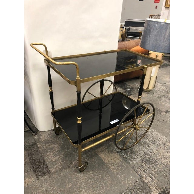 Hollywood Regency Mid-Century Italian Brass Bar Cart by Morex For Sale - Image 3 of 7