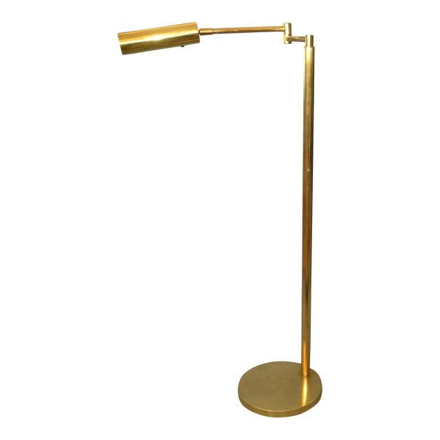 Italian Brass Swing Arm Floor or Reading Lamp For Sale