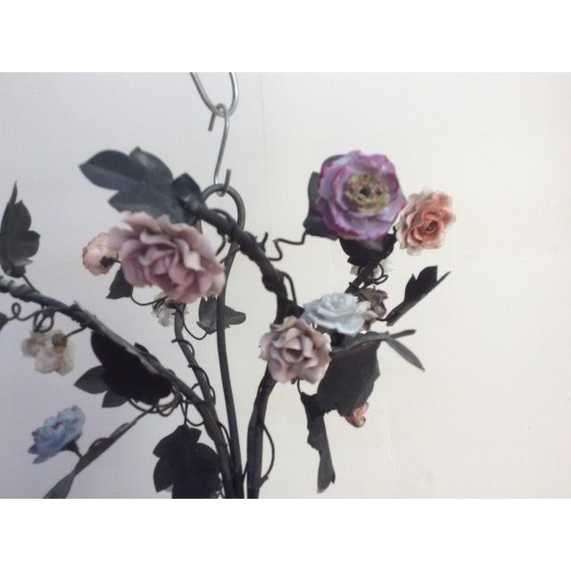 Tole & Porcelain Flower Candle Chandelier - Image 4 of 10